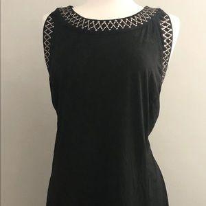 ASHLEY STEWART Metallic Studded Fit & Flare Dress